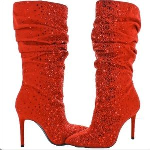 Jessica Simpson Lailee Red Bling High Heel Boots 5